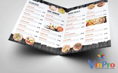 Kích thước menu nhà hàng chuẩn hiện nay