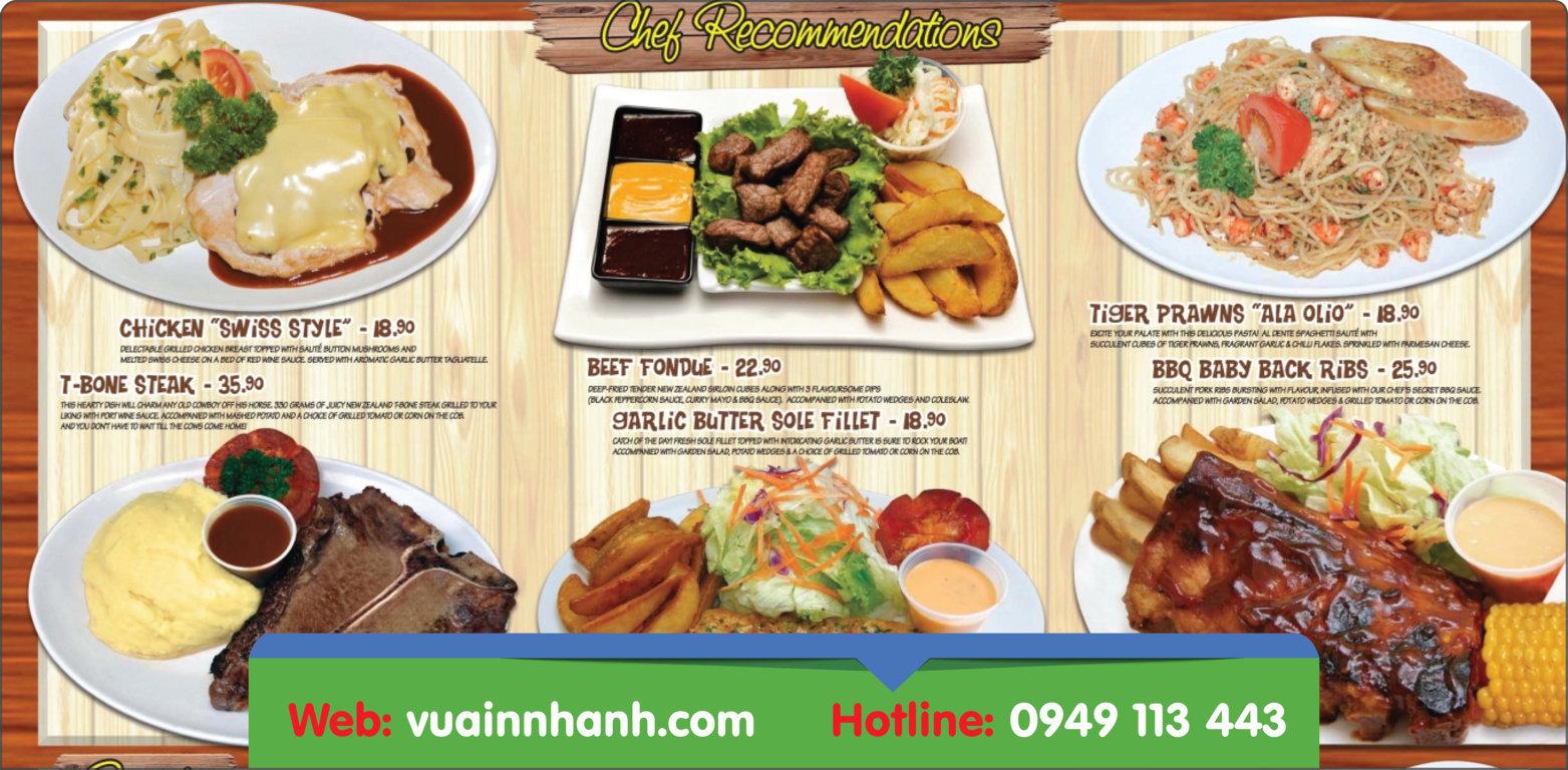Kích thước menu nhà hàng